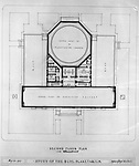 Pittsburgh PA:  View of a drawing created by Ingram & Boyd Architects of the new Buhl Planetarium.  This view is the proposed 2nd floor layout of the planetarium. The project was completed in 1939.  The Buhl Planetarium was built with monies from the Buhl Foundation; a foundation created by the wealthy North Side clothier Henry Buhl of Boggs and Buhl department store fame.  Brady Stewart was selected for the job due to his specialized equipment; an 8x10 Dierdorff camera, and his expertise in lighting and photographing large renderings and drawings.