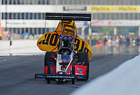 May 14, 2011; Commerce, GA, USA: NHRA top fuel dragster driver Scott Palmer during qualifying for the Southern Nationals at Atlanta Dragway. Mandatory Credit: Mark J. Rebilas-
