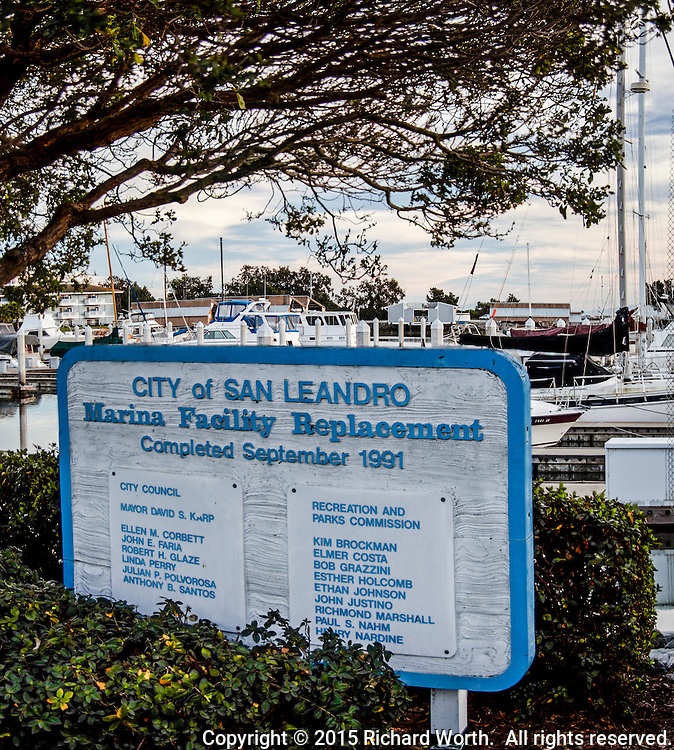 A sign at the San Leandro Marina, marking the 1991 completion of the Marina Facility Replacement.
