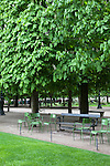 Empty chairs next to a row of trees in spring, Tuileries Gardens (jardin des Tuileries) Paris, France