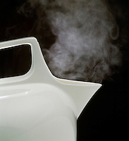 STEAM FROM BOILING WATER IN TEAKETTLE<br /> Water Boils At 100 deg C. or 212 deg F.<br /> Steam, or water in the gaseous state, is invisible, however the condensation of liquid water drops forms a fine mist that is visible.