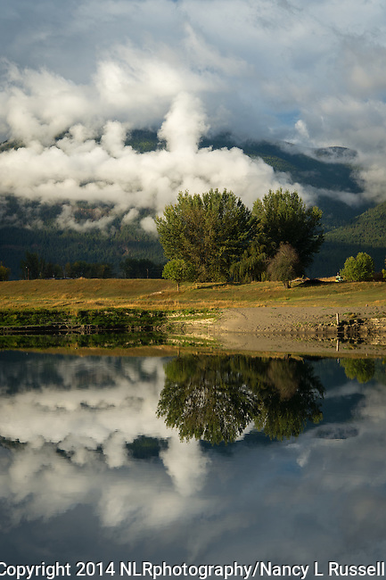 Clouds reflecting on the Kootenai River in north Idaho