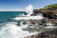 A cool summer day and large waves on Lake Superior. Black Rocks, Presque Isle Park. Marquette, MI