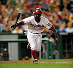 21 August 2009: Washington Nationals' outfielder Nyjer Morgan in action against the Milwaukee Brewers at Nationals Park in Washington, DC. The Nationals fell to the Brewers 7-3, in the first game of their four-game series. Mandatory Credit: Ed Wolfstein Photo