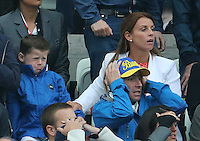 Kai rooney and his Mum Coleen watch the Match