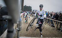 CX World Champion Wout Van Aert (BEL/Crelan-Willems) ready to jump onto the bridge <br /> <br /> elite men's race<br /> GP Sven Nys 2017