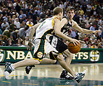 San Antonio Spurs Beno Udrih of Slovenia (R) guards Seattle SuperSonics Luke Ridnour (L) in the first period of their Western Conference Semifinals Game 6 at Key Arena in Seattle, Washington on Thursday 19 May 2005.  Jim Bryant Photo. ©2010. All Rights Reserved.