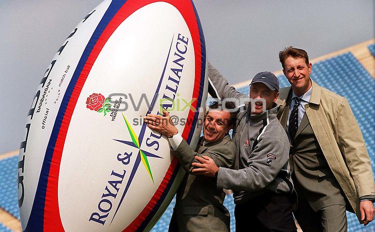 Pix:Simon Wilkinson/SWpix.com. Rugby Union. RFU, Royal SunAlliance and Sports Match. 12/04/2002..COPYWRIGHT PICTURE>>SIMON WILKINSON>>01943 436649>>..John Hymers Royal and Sunalliance. Joe Lydon from the RFU and Robin Hodkinson of Sports Match....