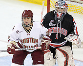 Mary Restuccia (BC - 22), Leah Sulyma (NU - 1) - The Boston College Eagles defeated the visiting Northeastern University Huskies 2-1 on Sunday, January 30, 2011, at Conte Forum in Chestnut Hill, Massachusetts.