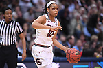 DALLAS, TX - MARCH 31:  Allisha Gray #10 of the South Carolina Gamecocks dribbles during the 2017 Women's Final Four at American Airlines Center on March 31, 2017 in Dallas, Texas. (Photo by Justin Tafoya/NCAA Photos via Getty Images)