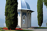 A Moorish style classical temple with a blue dome in the gardens of the Villa Melzi near Bellagio on Lake Como, Italy.