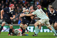 Fraser Heathcote of Oxford University takes on the Cambridge University defence. The Varsity Match between Oxford University and Cambridge University on December 10, 2015 at Twickenham Stadium in London, England. Photo by: Patrick Khachfe / Onside Images