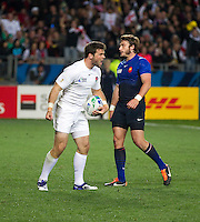 Rugby World Cup Auckland  England v France  Quarter Final 2 - 08/10/2011. Ben Foden  (England) celebrates scoring England's first try  .Photo Frey Fotosports International/AMN Images