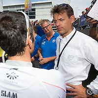 BRAZIL, Itajai.10th April 2012. Volvo Ocean Race. Franck Cammas, Skipper Groupama chats with Knut Frostad, CEO Volvo Ocean Race.