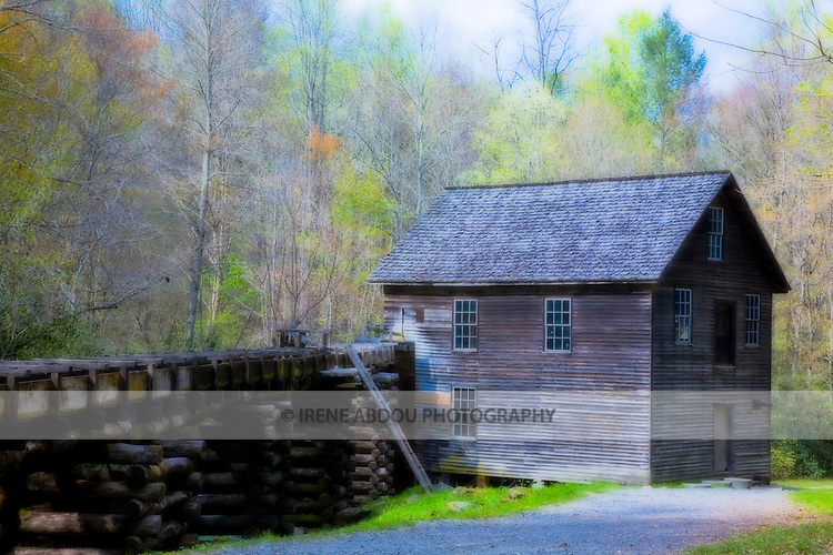 Mingus Mill is a working, water-powered grist mill originally built in 1886.  It lies a 1/2-mile north of the Oconaluftee Visitor Center of the Great Smoky Mountains National Park.