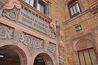 Thomas M. Cooley High School is located at the intersection of Hubbell and Chalfonte Street, on the northwest side of Detroit, Michigan. The impressive three-story structure is one of the more aesthetically pleasing buildings operated by the Detroit Public Schools. The facility was named in honor of Thomas M. Cooley, a nineteenth-century jurist and Chief Justice of the Michigan Supreme Court.<br /> <br /> Cooley High School's history dates back to the late-1920's, during a period when thousands of homes were built upon land acquired through Detroit's aggressive annexation efforts in the former Greenfield Township and village of Strathmoor, Michigan. Cooley High was subsequently constructed to accommodate a rapidly growing populace on the city's burgeoning northwest side; the school opened its doors on September 4, 1928. From that day forward, the faculty and students have maintained a long-standing reputation for exceptional scholastic and athletic achievement.
