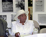 Mamie Bradley,Emmett Till's mother, attends a reparation meeting at theCornerstone M.B. Baptist church May 18,2002 in west jackson MS. She spoke abouth her son's lynching and the trial where she was the chief prosecutorial witmess. Emmett was a black man from chicago who stopped in the store and whistled or cat called at the oweners blonde and white wife,Emmett was later found lynched and the men who were accused of the crime were found not guilty.The store owners was Roy Bryant it was his wife that was whistled at and Roy owned the store with his half brother J.W.Milam in 1955. Bryant and Milam were indicted for kidnapping and lynching Till but were later acquited of all charges.(photo Suzi Altman)