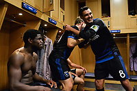 San Jose, CA - Saturday May 06, 2017: Florian Jungwirth, Chris Wondolowski after a Major League Soccer (MLS) match between the San Jose Earthquakes and the Portland Timbers at Avaya Stadium.