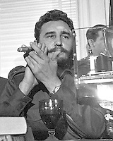 Prime Minister Fidel Castro of Cuba addresses a National Press Club luncheon in Washington, DC on April 20, 1959.  His appearance came less than four months after he seized power in Cuba and he said he had no dictatorial ambitions.<br /> Credit: Benjamin E. &quot;Gene&quot; Forte / CNP /MediaPunch