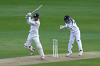 Alastair Cook hits four runs for Essex as Lewis McManus looks on from behind the stumps during Essex CCC vs Hampshire CCC, Specsavers County Championship Division 1 Cricket at The Cloudfm County Ground on 19th May 2017