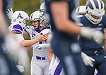 8 October 2016: Amherst College Purple & White Wide Receiver Devin Boehm, a Senior from Wilmette, IL, celebrates his touchdown during game action against the Middlebury College Panthers at Alumni Stadium in Middlebury, Vermont. The Panthers edged out the Purple & While 27-26. Mandatory Credit: Ed Wolfstein Photo *** RAW (NEF) Image File Available ***