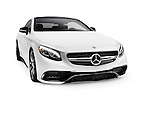 White 2015 Mercedes Benz S63 AMG Coupe luxury car isolated on white background with a clipping path