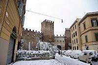 Nevicata a Roma.Snowfall in Rome.Mura Aureliane.Aurelian Walls.