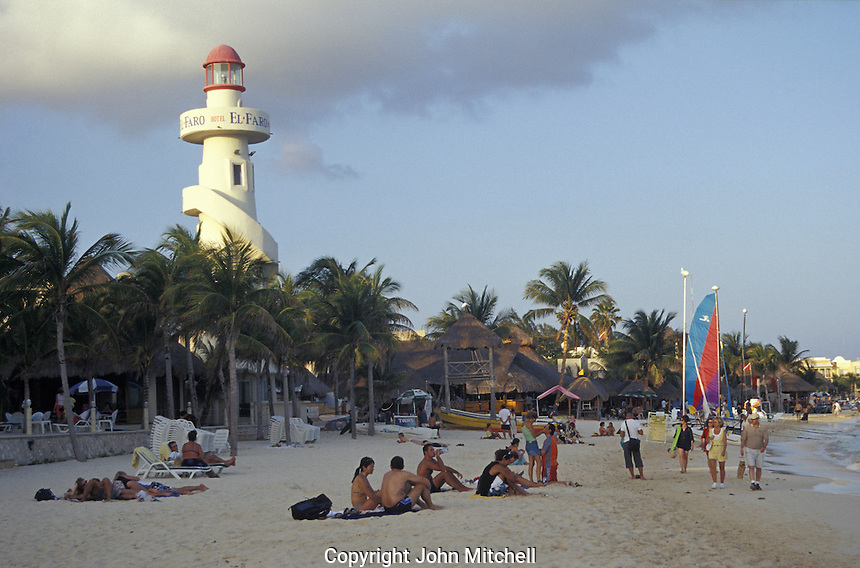 Beach and El Faro lighthouse in Playa del Carmen, Quintana Roo, Mexico