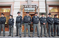 Police guarded a McDonalds in central Prague in anticipation that it would be vandalized by the anti-globalization protesters.