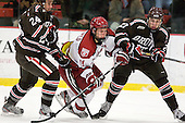 Joey de Concilys (Brown - 24), Kyle Criscuolo (Harvard - 11), Mark Naclerio (Brown - 27) - The Harvard University Crimson defeated the visiting Brown University Bears 3-2 on Friday, November 2, 2012, at the Bright Hockey Center in Boston, Massachusetts.