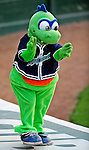 7 July 2008: Vermont Lake Monsters' Mascot Champ entertains the crowd during a game against the Batavia Muckdogs at Centennial Field in Burlington, Vermont. The Lake Monsters defeated the Muckdogs 3-2 in the final game of their 3-game series...Mandatory Photo Credit: Ed Wolfstein Photo