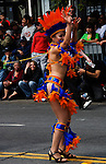 California, San Francisco: A young woman salsa samba dancer at Carnaval in the Mission District..Photo #: 30-casanf81369.Photo © Lee Foster 2008