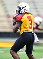 College Park, MD - APR 22, 2016: Maryland Terrapins quarterback Tyrrell Pigrome (3) drops back to pass during the 2017 Spring game at Capital One Field at Maryland Stadium in College Park, MD. (Photo by Phil Peters/Media Images International)