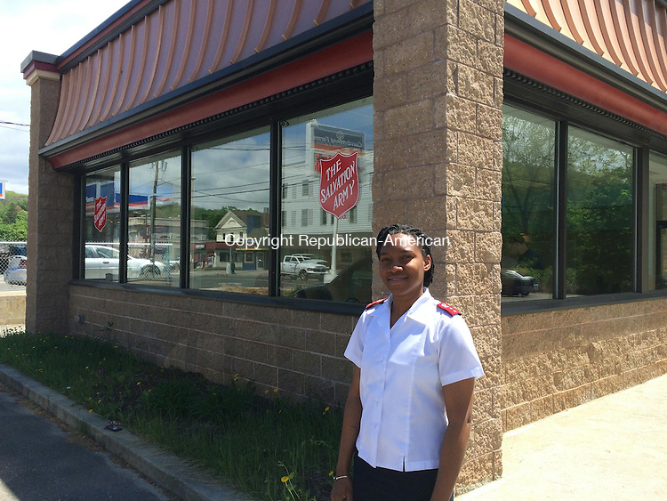 WINSTED, CT- 02 June 2015- 060215BJ01-- Capt. Rene Jarvis of the Salvation Army stands in front of the new food pantry the organization began leasing. The Salvation Army is looking to purchase the former Wendy's restaurant on Route 44. Bruno Matarazzo Jr. Republican-American
