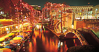 Texas, San Antonio, &quot;River Walk&quot; on the San Antonio River during Christmas