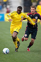 Mar 26, 2011; Columbus, OH, USA; Columbus Crew midfielder Emmanuel Ekpo (17) pulls away from New York Red Bulls defender/midfielder Teemu Tainio (2) during their match at Columbus Crew Stadium. The game finished in a 0-0 tie.