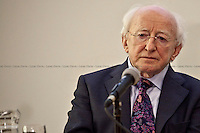 Michael D. Higgins, President of Ireland - 2012<br /> <br /> London, 21/02/2012. Today LSE (London School of Economics) presented a public lecture called &quot;Of Public Intellectuals, Universities, and a Democratic Crisis&quot; hosted by Michael D. Higgins (President of Ireland, poet, writer, academic, statesman, Human Rights advocate, former first Irish Minister for Arts and Culture). Chair of the event was Peter Sutherland (Irish international businessman, chairman of Goldman Sachs International and Chair of London School of Economics).