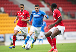 St Johnstone v York City...19.07.14  <br /> Michael O'Halloran is closed down by Lewis Montrose<br /> Picture by Graeme Hart.<br /> Copyright Perthshire Picture Agency<br /> Tel: 01738 623350  Mobile: 07990 594431