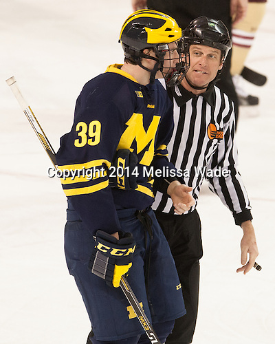 Dexter Dancs (Michigan - 39), Chris Millea - The Boston College Eagles defeated the visiting University of Michigan Wolverines 5-1 (EN) on Saturday, December 13, 2014, at Kelley Rink in Conte Forum in Chestnut Hill, Massachusetts.