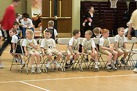 young boys & girls await play in a church league basketball game, Richmond, VA, USA