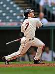 13 September 2008: Cleveland Indians' infielder Jamey Carroll in action against the Kansas City Royals at Progressive Field in Cleveland, Ohio. The Indians fell to the Royals 8-3 in the first game of their double-header...Mandatory Photo Credit: Ed Wolfstein Photo