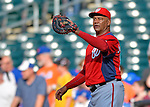 24 July 2012: Washington Nationals batting practice pitcher Jose Martinez works the infield prior to a game against the New York Mets at Citi Field in Flushing, NY. The Nationals defeated the Mets 5-2 to take the second game of their 3-game series. Mandatory Credit: Ed Wolfstein Photo