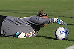 7 November 2007: Virginia goalkeeper Chantel Jones gathers a loose ball inches from her own goal. The University of Virginia tied the University of Miami 0-0 at the Disney Wide World of Sports complex in Orlando, FL in an Atlantic Coast Conference tournament quarterfinal match.  Virginia advanced to the semifinals on penalty kicks, 4-2.