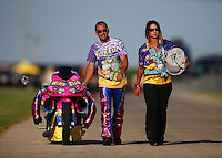 Jul 9, 2016; Joliet, IL, USA; NHRA pro stock motorcycle rider Scotty Pollacheck with wife Susan Pollacheck during qualifying for the Route 66 Nationals at Route 66 Raceway. Mandatory Credit: Mark J. Rebilas-USA TODAY Sports