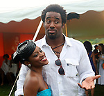 "Pamela L Pressley and NFL Cinnciatti Bangels' Linebacker Dhani Jones  attend ""Beach Glamour in the Hamptons, A Benefit Party for the RFL Museum"" at the Reginald F. Lewis Estate in East Hampton, New York, 6/26/10"