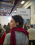 """Westbury, New York, USA. January 15, 2017.  A woman holds a """"CARE MATTERS"""" sign on a woman stick at the """"Our First Stand"""" Rally against Republicans repealing the Affordable Care Act, ACA, taking millions of people off health insurance, making massive cuts to Medicaid, and defunding Planned Parenthood. Hosts were Reps. K. Rice (Democrat - 4th Congressional District) and T. Suozzi (Dem. - 3rd Congress. Dist.). It was one of dozens of nationwide Bernie Sanders' rallies for health care that Sunday."""