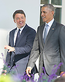 United States President Barack Obama and Prime Minister Matteo Renzi of Italy walk along the Colonnade to the Oval Office following the Official Arrival Ceremony on the South Lawn of the the White House in Washington, DC on Tuesday, October 18, 2016. <br /> Credit: Ron Sachs / CNP