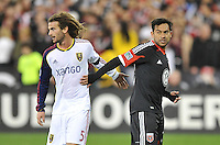 Carlos Ruiz of D.C. United next to Real Salt Lake Kyle Beckerman during the game. D.C. United defeated Real Salt Lake 1-0 in their home opener, at RFK Stadium, Saturday March 9,2013.