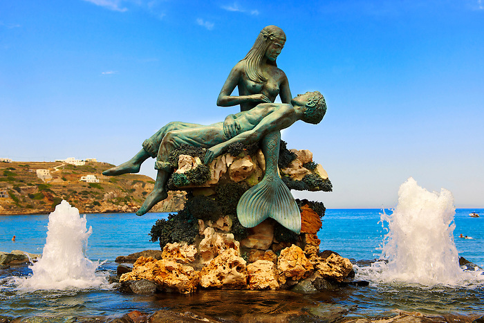 Mermaid statue at Kini, Syros Island [ ????? ] , Greek Cyclades Islands
