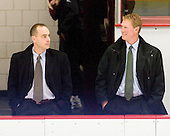 Mike Cavanaugh (BC - Associate Head Coach), Greg Brown (BC - Assistant Coach) - The Boston College Eagles defeated the Harvard University Crimson 3-2 on Wednesday, December 9, 2009, at Bright Hockey Center in Cambridge, Massachusetts.